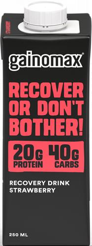 Gainomax Recovery Jordgubb. Recoverydryck för träning och hälsa.