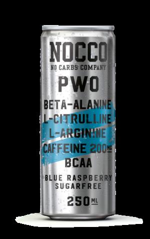 Nocco PWO Blue Raspberry sockerfri kolsyrad energidryck för pre-workout