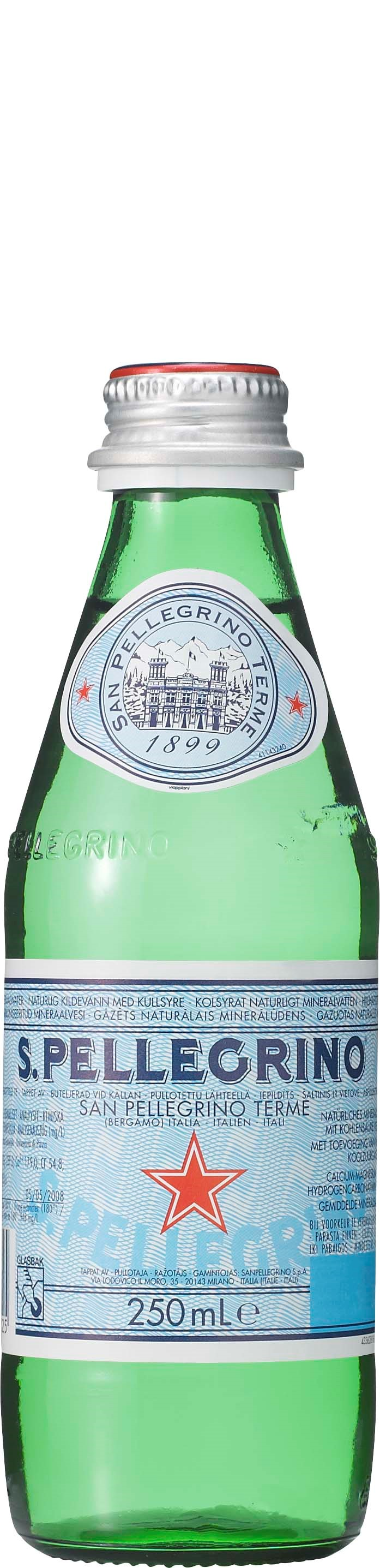 San Pellegrino kolsyrat vatten på liten glasflaska